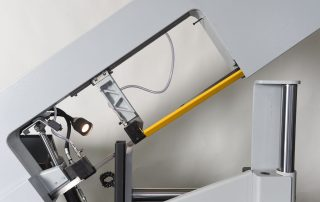 S-20P Cast Iron Guide Arm is Adjustable and Supported By Linear Rail